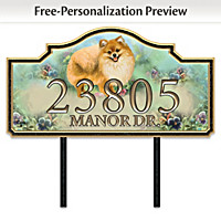 Warm Pomeranian Welcome Personalized Address Sign
