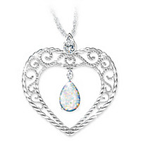 My Husband, My Love Created Opal & Diamond Pendant Necklace