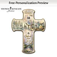 Thomas Kinkade Faith And Family Personalized Wall Clock