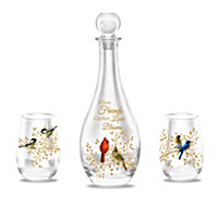 Charming Songbirds Decanter Set