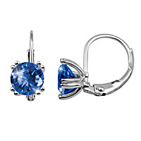 Solid Sterling Silver Simulated Sapphire Earrings