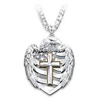 One Nation Under God Diamond Pendant Necklace