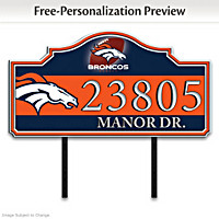 Denver Broncos Personalized Address Sign