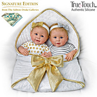 Silver And Gold Twins Silicone Baby Doll Set