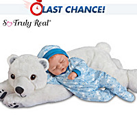 Brayden Baby Doll & Snowball Plush Polar Bear Set