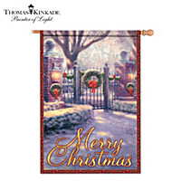Thomas Kinkade Merry Christmas Flag