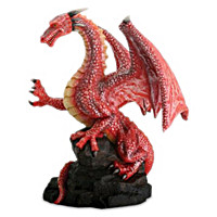 Red Dragon On Rock Figurine