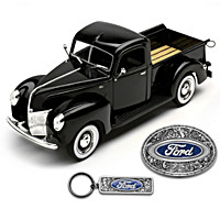 1940 Ford Diecast Truck, Belt Buckle And Key Chain Set