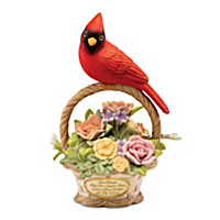 Forever In Our Hearts Cardinal Basket Figurine