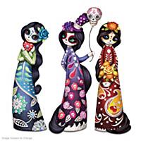 Love, Faith And Peace Sugar Skull Trio Figurine Set