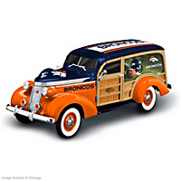 Cruising To Victory Denver Broncos Woody Wagon Sculpture