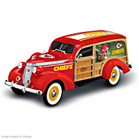 Cruising To Victory Kansas City Chiefs Woody Wagon Sculpture