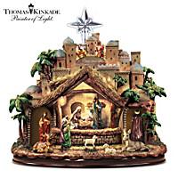 Thomas Kinkade Following The Star Nativity Sculpture