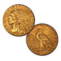 The First Sunken Relief U.S. $5 MS-61 NGC Gold Coin