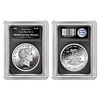 The Shield Earring Morgan 1 Oz. 99.9% Silver Proof Coin
