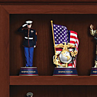U.S. Marine Corps Figurine Collection With Curio Display