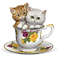 Purr-fectly Tealightful Kitten Teacup Figurine Collection