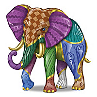 """Keith Mallet """"Vibrant Expressions"""" Elephant Figurines"""