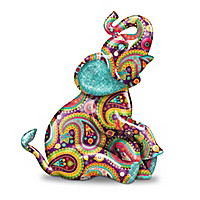 """""""Paisley Patterned"""" Elephant Collection With Faux Gem Eyes"""