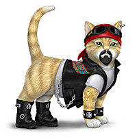 Live Fur-ee And Ride Hard Biker Cat Figurine Collection