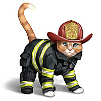"""Furr-ever Firefighter"" Cat Figurine Collection"