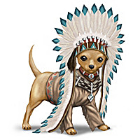 """""""Feathers 'N Fur"""" Chihuahua Wild West Figurine Collection"""