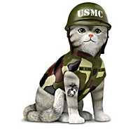 """""""Paws & Salute the U.S.M.C."""" Cat Figurine Collection"""