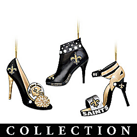 New Orleans Saints Steppin' Out Stiletto Ornament Collection