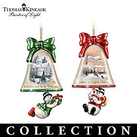Thomas Kinkade Ringing In The Holidays Ornament Collection