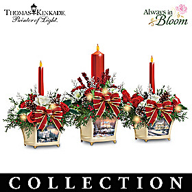 Thomas Kinkade Joy Of Holidays Table Centerpiece Collection