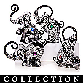 Virtues Of The Black Elephant Figurine Collection
