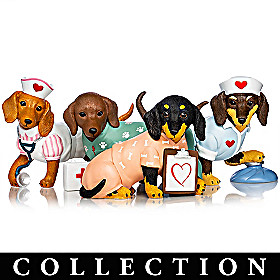 Tender Paw-ing Care Dachshund Nurse Figurine Collection