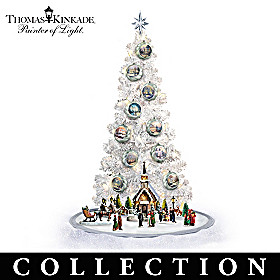 Thomas Kinkade Christmas Tree With Sculptures Collection