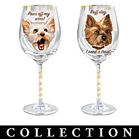 Time To Un-Wined Yorkie Wine Glass Collection