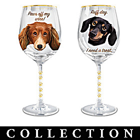 Time To Un-Wined Dachshund Wine Glass Collection