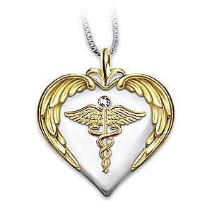 Nurse's Serenity Prayer Diamond Pendant Necklace