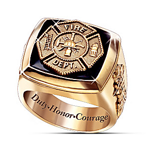Maltese Cross Gold Firemen Ring