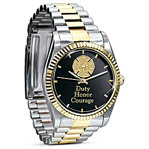 """Duty, Honor, Courage"" Engraved Firefighter's Watch"