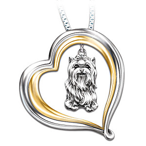 Engraved Heart-Shaped Pendant With Sculpted Yorkie Charm