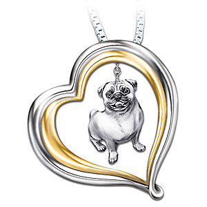 Engraved Heart-Shaped Pendant With Sculpted Pug Charm