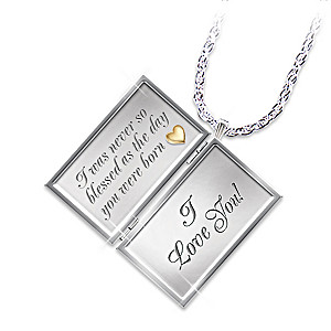 """Dear Daughter, Letter Of Love"" Diamond Locket Pendant"