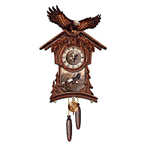 Sculptural Wall Clock With Eagle Art By Ted Blaylock