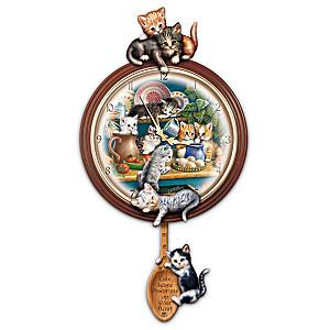"""""""Kitchen Capers"""" Cat Art Wall Clock"""