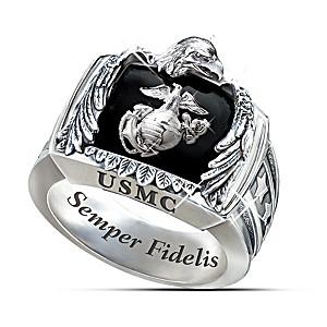 The Sculptural USMC Sterling Silver Men's Ring