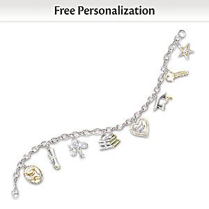 Personalized Swarovski Crystal Graduation Charm Bracelet