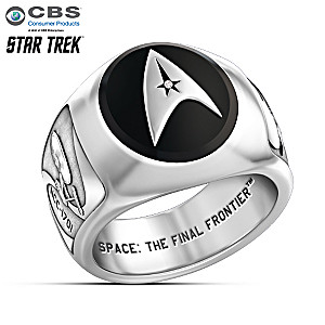 STAR TREK Collector's Onyx And Diamond Ring