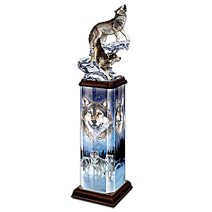 Al Agnew Wolf Art Lighted Tabletop Sculpture