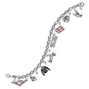 "The ""Ride Hard, Live Free"" Swarovksi Crystal Charm Bracelet"
