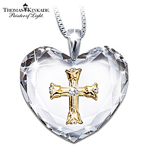"Thomas Kinkade ""Serenity Prayer"" Crystal Heart Pendant"