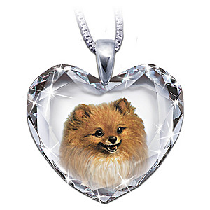 Pomeranian Portrait Crystal Heart Pendant Necklace